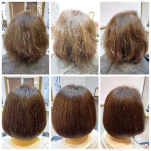 大野城髪質改善専門美容室Lien hair design(リアン ヘアー デザイン)『美髪チャージを使ったビビれ治し&プレミアム美肌カラー』のお客様です(^^)  他店でパーマ失敗により毛先がビリビリになってしまい濡らすだけでゴムのように毛先がビヨンビヨンに伸びてしまう状況のお客様でしたが、コルテックス部が完全に破壊されてはいなかったため、治せると判断し施術させていただきました(*^^*)  ビビれ治しの場合はビビれ治しのみの方がいいのてすが、どうしても根本の白髪も気になるということで今回はビビれ治しをしながらカラーも同時施術という内容で少しだけドキドキしましたが、リアンの(オッジィオット)を使用した『美髪チャージプレミアム美肌カラー』なら他店てのパーマ失敗により毛先がビリビリになってしまわれたお客様の髪もカラーをしながら、こんなに艶々サラサラに仕上がっちゃいます(о´∀`о)  『美髪チャージプレミアムカラー』なら1回目より2回目、2回目より3回目と繰り返せば繰り返すほど艶々サラサラに仕上がっちゃいます(^-^)   こちらのお客様も、毛先部分の枝毛も2回、3回とやればやるほどに修復していけると思います(^ー^)  もし他店での施術失敗で毛先がビリビリになってしまわれたお客様も諦めずに1度、髪を見せていただけたらと思います( ^ω^ )  そして今、話題の『マイクロファインバブル』を使用することにより美髪チャージの力を120%まで引き上げてくれます(σ≧▽≦)σ  こちらのメニューは、こんな方にお薦め!   ・髪の毛のダメージが気になる ・カラーやブリーチをしている ・髪の毛を伸ばしたいが伸ばせない ・髪の毛がパサつく、引っかかりがある ・髪の毛のツヤがほしい  本気で髪の毛を良くしたい方必見!  月1回の施術いただくことをお薦めします(^_^)  新システムによりグレードアップした『美髪チャージプレミアムカラー』で さわればわかる!さわりたくなる髪を手に入れてみませんか(^^)   美髪チャージメニュー  美髪チャージプレミアムトリートメント ¥10000~  美髪チャージプレミアムカラー ¥18000~  美髪チャージプレミアムデジタルパーマ ¥24000~  美髪チャージプレミアム美革ストレート ¥27000 ~  大野城美容室Lien hair design(リアン ヘアー デザイン)2021年5月の定休日変更お知らせです(^-^)  2021年5月は10.17.24.31日にお休みをいただいております!  5月7日からの緊急事態宣言に伴い、リアンでは1日に施術させていただく人数制限、そして時短営業を実施させていただくことになりました! リアンに来ていただいているお客様のために、少しでも安心してご来店いただける環境を整えていけるように努力していきますので、何卒ご協力宜しくお願い致します( ^ω^ )  只今6月の中旬までご予約が大変込み合ってきております!  お早めのご予約宜しくお願い致しますm(_ _)m  「髪質改善」美容室 リアン ヘアーデザイン  福岡県大野城市中央2丁目1−13  tel:092-593-3339  ※完全マンツーマンサロンですので、 お電話の対応、施術、会計など 全てひとりで担当させていただいております。 そのため施術中はお電話が取れない場合がございます。 その際は折り返しご連絡をさせていただきます  #大野城 #大野城市 #春日市 #太宰府 #太宰府市 #筑紫野 #筑紫野市 #oggiotto #オッジィオット #ケラリファイン #ヴァリジョア #トキオインカラミ #トキオトリートメント #髪質改善 #美髪チャージ #美髪 #marbb #microbubblesystem #マイクロバブル #ヒト由来幹細胞培養液 #バイオプロポーザー