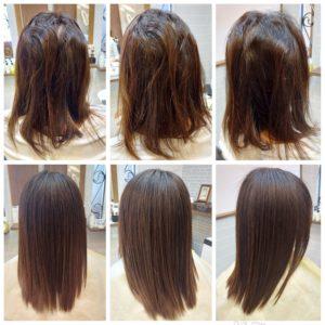 """大野城髪質改善専門美容室Lien hair design(リアン ヘアー デザイン)『美髪チャージプレミアム美革ストレート』のお客様です(^^)  他店での縮毛矯正の失敗で毛先のビビれ&トップの切れ毛で悩まれていたお客様の髪もリアンの『美髪チャージプレミアム美革ストレート』なら、こんなに艶々サラサラに仕上がっちゃいます(о´∀`о)  還元ケラチンでもっと強く美しい髪へ(^_^)v! S – S結合を再構築する""""還元ケラチン""""とダメージを補修する""""直効きケラチン""""でサロントリートメントの新時代。 芯から強く弾むしなやかさ、驚きのツヤと手触りを叶えます。  2大システムにより、元々の髪質・ダメージを選ばずに・・・  《 仕上がり質感 》  サラサラ・滑らかな指通り。 柔らかく、弾力がある。 内部からみずみずしく潤う(油分で補うしっとり感ではない)。 感動のツヤ。 従来のシステムトリートメントのように""""質感を付与""""しているのではなく、ダメージで失われた結合(S – S結合)や毛髪成分を再構築することで、結果的に生み出された質感のため、髪質やダメージレベルを選ばず、優れた質感が得られます。  『美髪チャージプレミアム美革ストレート』なら1回目より2回目、2回目より3回目と繰り返せば繰り返すほど艶々サラサラに(^-^)   そして今、話題の『マイクロファインバブル』を使用することにより美髪チャージの力を120%まで引き上げてくれます(σ≧▽≦)σ  こちらのメニューは、こんな方にお薦め!   ・髪の毛のダメージが気になる ・カラーやブリーチをしている ・髪の毛を伸ばしたいが伸ばせない ・髪の毛がパサつく、引っかかりがある ・髪の毛のツヤがほしい  本気で髪の毛を良くしたい方必見!  月1回の施術いただくことをお薦めします(^_^)   新システムによりグレードアップした『美髪チャージプレミアム美革ストレート』で さわればわかる!さわりたくなる髪を手に入れてみませんか(^^)   美髪チャージメニュー  美髪チャージプレミアムトリートメント ¥10000~  美髪チャージプレミアムカラー ¥18000~  美髪チャージプレミアムデジタルパーマ ¥24000~  美髪チャージプレミアム美革ストレート ¥27000~  大野城美容室Lien hair design(リアン ヘアー デザイン)2021年5月の定休日変更お知らせです(^-^)  2021年5月は31日にお休みをいただいております!  5月12日からの緊急事態宣言に伴い、リアンでは1日に施術させていただく人数制限、そして時短営業を実施させていただくことになりました! リアンに来ていただいているお客様のために、少しでも安心してご来店いただける環境を整えていけるように努力していきますので、何卒ご協力宜しくお願い致します( ^ω^ )  只今7月の月の上旬までご予約が大変込み合ってきております!  お早めのご予約宜しくお願い致しますm(_ _)m  「髪質改善」美容室 リアン ヘアーデザイン  福岡県大野城市中央2丁目1−13  tel:092-593-3339  ※完全マンツーマンサロンですので、 お電話の対応、施術、会計など 全てひとりで担当させていただいております。 そのため施術中はお電話が取れない場合がございます。 その際は折り返しご連絡をさせていただきます  #大野城 #大野城市 #春日市 #太宰府 #太宰府市 #筑紫野 #筑紫野市 #oggiotto #オッジィオット #ケラリファイン #ヴァリジョア #トキオインカラミ #トキオトリートメント #髪質改善 #美髪チャージ #美髪 #marbb #microbubblesystem #マイクロバブル #ヒト由来幹細胞培養液 #バイオプロポーザー #美革ストレート  #ビカクストレート"""