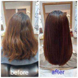 """大野城髪質改善専門美容室Lien hair design(リアン ヘアー デザイン)『美髪チャージプレミアム美革ストレート』のお客様です(^^)  強い癖毛&ブリーチでのハイライトによって毛先のビリビリになっていた、お客様の髪もリアンの『美髪チャージプレミアム美革ストレート』なら、こんなに自然で艶々サラサラストレートに仕上がっちゃいます(о´∀`о)  還元ケラチンでもっと強く美しい髪へ(^_^)v! S – S結合を再構築する""""還元ケラチン""""とダメージを補修する""""直効きケラチン""""でサロントリートメントの新時代。 芯から強く弾むしなやかさ、驚きのツヤと手触りを叶えます。  2大システムにより、元々の髪質・ダメージを選ばずに・・・  《 仕上がり質感 》  サラサラ・滑らかな指通り。 柔らかく、弾力がある。 内部からみずみずしく潤う(油分で補うしっとり感ではない)。 感動のツヤ。 従来のシステムトリートメントのように""""質感を付与""""しているのではなく、ダメージで失われた結合(S – S結合)や毛髪成分を再構築することで、結果的に生み出された質感のため、髪質やダメージレベルを選ばず、優れた質感が得られます。  『美髪チャージプレミアム美革ストレート』なら1回目より2回目、2回目より3回目と繰り返せば繰り返すほど艶々サラサラに(^-^)   そして今、話題の『マイクロファインバブル』を使用することにより美髪チャージの力を120%まで引き上げてくれます(σ≧▽≦)σ  こちらのメニューは、こんな方にお薦め!   ・髪の毛のダメージが気になる ・カラーやブリーチをしている ・髪の毛を伸ばしたいが伸ばせない ・髪の毛がパサつく、引っかかりがある ・髪の毛のツヤがほしい  本気で髪の毛を良くしたい方必見!  月1回の施術いただくことをお薦めします(^_^)   新システムによりグレードアップした『美髪チャージプレミアム美革ストレート』で さわればわかる!さわりたくなる髪を手に入れてみませんか(^^)   美髪チャージメニュー  美髪チャージプレミアムトリートメント ¥10000~  美髪チャージプレミアムカラー ¥18000~  美髪チャージプレミアムデジタルパーマ ¥24000~  美髪チャージプレミアム美革ストレート ¥27000~  大野城美容室Lien hair design(リアン ヘアー デザイン)2021年6月の定休日のお知らせです(^-^)  2021年6月は28日にお休みをいただいております!  只今7月の末までご予約が大変込み合ってきております! お早めのご予約宜しくお願い致しますm(_ _)m  「髪質改善」美容室 リアン ヘアーデザイン  福岡県大野城市中央2丁目1−13  tel:092-593-3339  ※完全マンツーマンサロンですので、 お電話の対応、施術、会計など 全てひとりで担当させていただいております。 そのため施術中はお電話が取れない場合がございます。 その際は折り返しご連絡をさせていただきます  #大野城 #大野城市 #春日市 #太宰府 #太宰府市 #筑紫野 #筑紫野市 #oggiotto #オッジィオット #ケラリファイン #ヴァリジョア #トキオインカラミ #トキオトリートメント #髪質改善 #美髪チャージ #美髪 #marbb #microbubblesystem #マイクロバブル #ヒト由来幹細胞培養液 #バイオプロポーザー #デュアルビー  #セルバイタルアンプル #イデベノン #羊水幹細胞培養液 #美革ストレート  #ビカクストレート"""